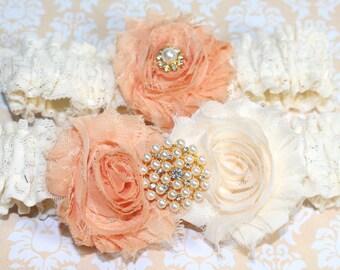 Peach Wedding Garter, Ivory Lace Garter, Peach Wedding, Shabby Chic Garter, Pearls, Shabby Flower Garter, Custom colors, Custom Size garter