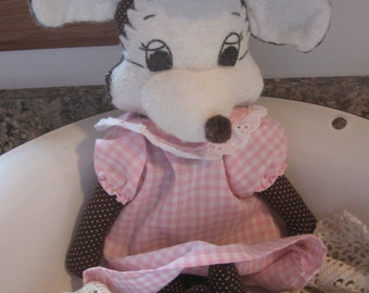 Sweet Gingham Pink Vintage Handmade Mouse
