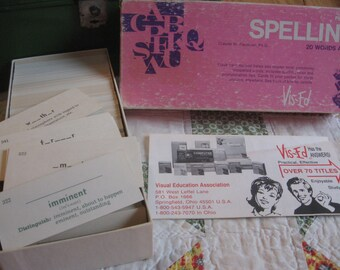 Complete Box of 1,000 Vintage 1987 Small Spelling Flash Cards Vis-Ed Vis Ed