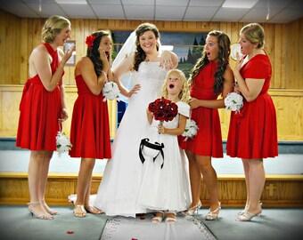 USA, convertible dress, infinity dress, red dress, wrap dress, bridesmaids dress