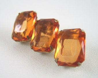 Vintage Amber Topaz Citrine Paste Rhinestone Brooch