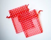30 Polka Dot Organza Bags, 3x4 inch, Red with White Dots, Wedding Favors