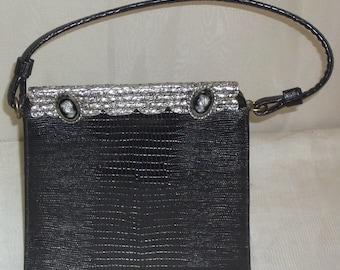 Vintage Lizard Skin Kelly Purse Juliart Cameo Intaglio Hematite Handbag France