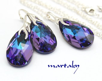 Purple Jewelry Set,Necklace Earrings,Blue Plum Violet Jewelry,Peacock Pear Swarovski Crystal,Sterling,Bridal Bridesmaid Wedding,Choose Color
