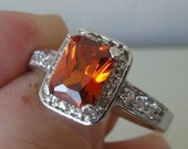 Orange Fire and Cubic Zirconia Ring