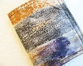 Painted Fabric Cardholder, color wash textile wallet in black gold and purple, OOAK Bifold Wallet