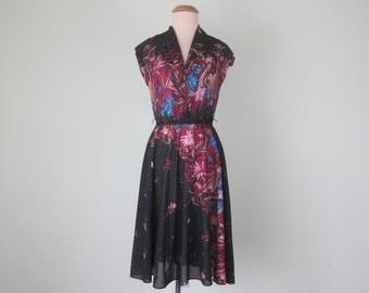 70s black floral print polka dot faux wrap dress summer sundress (xs - s)