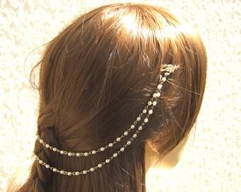 Gold Bridal Headpiece, Pearl Chain Headband, Bridal Halo, Wedding Headband, Bridal Hair Piece, Forehead Jewelry