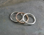 7 ring size 14k Recycled Rose Gold and Argentium Silver Stacking Rings Eco-friendly hammered texture