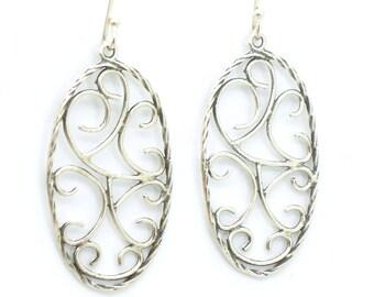 Sterling silver filigree metalwork oval earrings