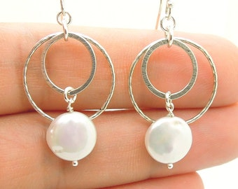 White pearl chandelier sterling silver earrings