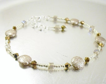 Beaded Ankle Bracelet - Metallic Champagne and Crystal Glass Anklet
