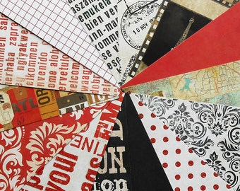DESTASH - Recollections- World Traveler: Red - Pack of 14 Different Scrapbook Papers, 6 inch X 6 inch