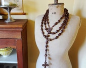 vintage French rosary, XL size, wood carved beads, souvenir from Lourdes (style #1)