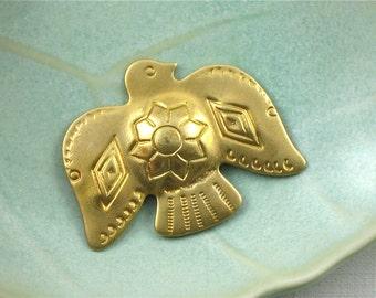 6 Tribal THUNDERBIRD brass jewelry embellishment 34mm x 27mm (S10nr)