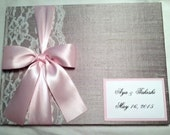 Guest Book Photo Booth Wedding Album 100 - 2x6 Photo strips - over 50 fabrics, 10 Satin Ribbon Colors, and Customized Monogram Card