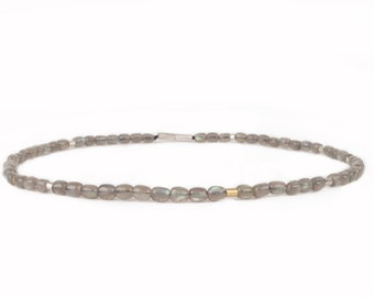 necklace of labradorite with silver and gold