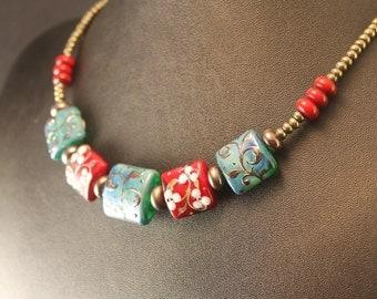 The Amaranth and Della Robbia Blue Flourish Lampwork Bead Necklace - Handmade Glass Beads, Pyrite Rondelles, Bali Silver S Clasp