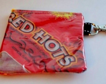 UPCYCLED Red Hots candy bag RECYCLEd into a sweet usable coin purse with lobster claw clasp