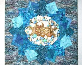 "Jeweled Sea Wall Hanging, 12"" x 12"""