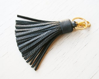 Tassel Keychain Black Leather Tassel Key Fob Bag Charm