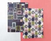 Recycled Notebook Set // Geometric Notebooks // Patterned Jotters // Geo Notepads