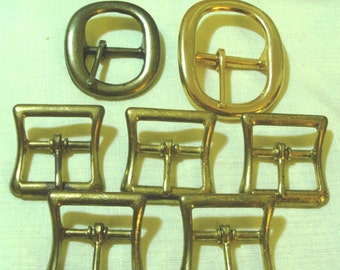 Vintage Lot of 7  Heavy Metal  Belt Buckles - Brass and Antiqued Finish -NOS- 1960 Era (Credit Cards Accepted)