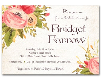 Bridal shower invitation, beautiful pink and peach floral bridal or baby shower invitation, birthday invitation, digital DIY or order prints
