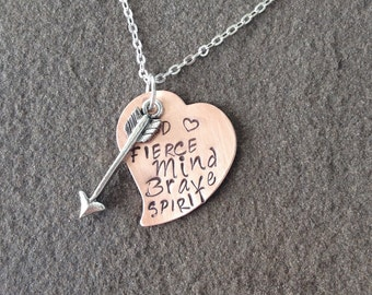 Stamped heart inspirational quote necklace brave heart fierce mind brave spirit arrow heart