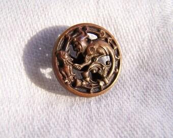 Vintage Depose Paris Brass Picture Button