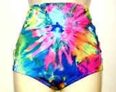 Tie Dye High Waisted Retro Rise Swim Suit Bottoms Only