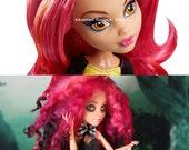 Altered Doll, Monster Doll, Werewolf, Gothic, Smoky Eyes, Goth, Monster High Repaint, Custom, Wool Locks, Art Doll