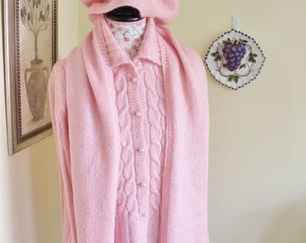 Handmade Hand knit Pink Cable Cardigan Mohair Set with Scarf and Hat // CABLE KNIT Long WOOL Cardigan, Coat -Fit Size M-Large - Long Sleeves