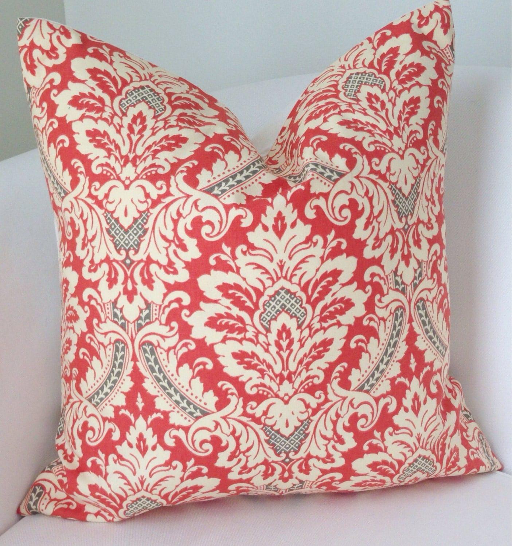 Gray Coral Pillow Cover Decorative Throw Pillow Damask Pillow
