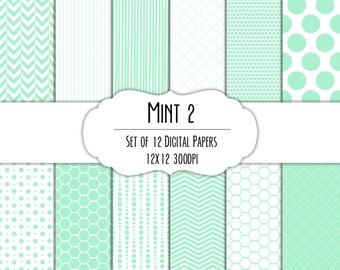Mint Green 2 Digital Scrapbook Paper 12x12 Pack - Set of 12 - Polka Dots, Chevron, Hexagon - Instant Download - Item#8203