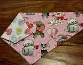 Valentine Pup Double sided Collar Style Dog Bandana Message Hearts