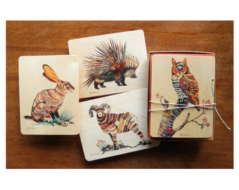 Dolan Geiman Wood Art Card Set - Notecards -  A Collaboration with Mixed Media Artist Dolan Geiman - Real Birch Wood Card - DGARTCARDS