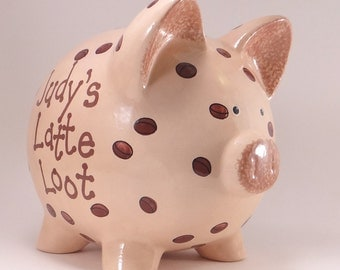 Coffee Bean Piggy Bank - Personalized Piggy Bank - Cappuccino Latte Money Bank - Ceramic Piggy Bank - with hole or NO HOLE in the bottom