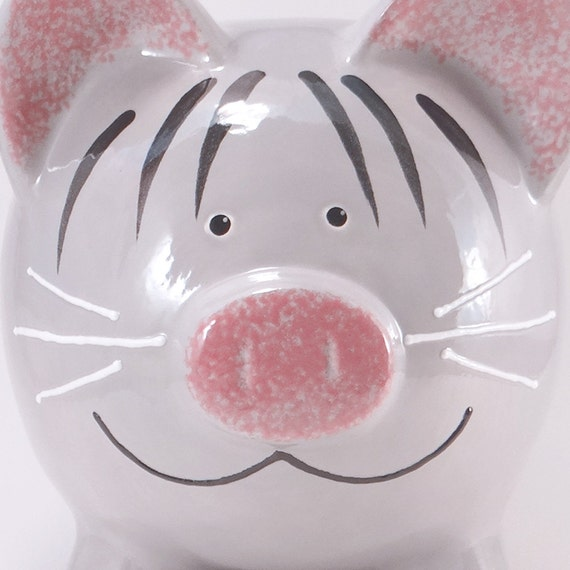 Grey Kitty Piggy Bank - Personalized Piggy Bank - Kitty Cat Bank - Gray Tabby Cat Bank - with hole or NO hole in bottom