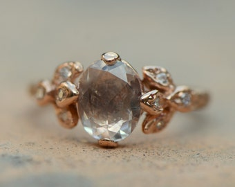 Rose cut white sapphire leaf ring.  Leaf engagement ring.  14k rose gold ring.