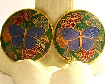 Stunning vintage cloissone butterfly clip earrings