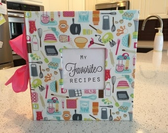 Hand Wrapped Recipe Album - wrapped in Laminated fabric - customized the way you'd like