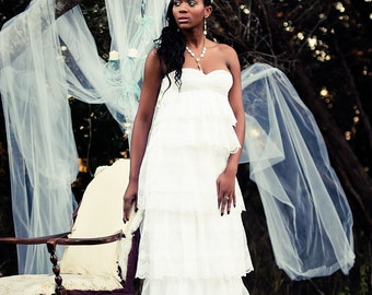 Jenny Tiered Bridal Dress with Removable Skirt