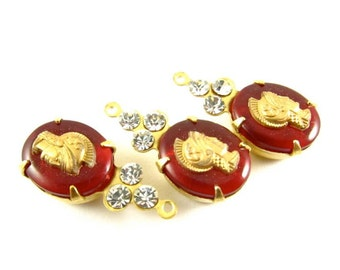 2 - Vintage Roman Warrior Cabochon and Swarovski Crystals in 1 Ring Brass Prong Settings - Siam Red Gold & Crystal - 22x10mm