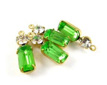 2 - Vintage Glass Octagon Stone and Round Rhinestone in 1 Ring 2 Stones Brass Settings - Peridot & Crystal - 18x6mm