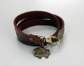 Leather Bracelet Leather Charm Bracelet Brown Color with Metal Elephant Charm