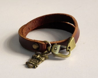 Brown Leather Charm Bracelet Leather Wrap Bracelet Leather Cuff with Metal Bronze Tone Owe Charm