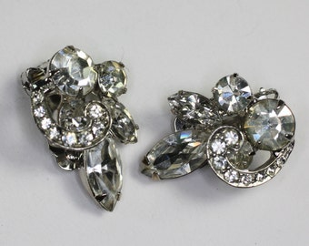 Ribbon Overlay Rhinestone Earrings Clip On Bridal