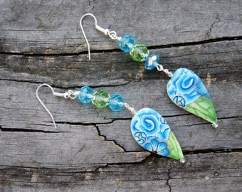 Aqua and Green Floral Polymer Clay and Crystal Earrings