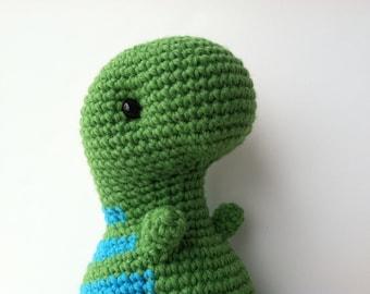 Gift For Kids T-Rex Plush Toy Green & Aqua Amigurumi Crochet Kawaii Plush Dinosaur Nursery Decor Plushie T-Rex Doll Stuffed Animal Dinosaur